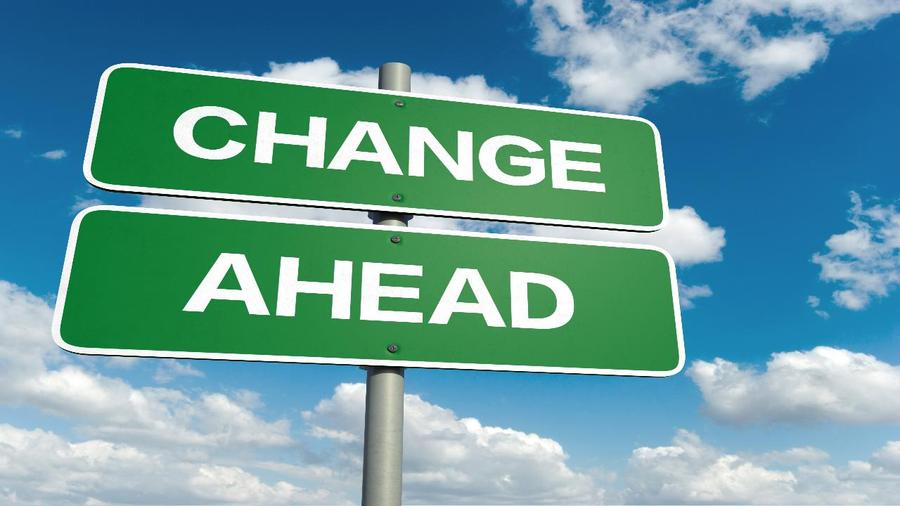 "Street sign that says ""CHANGE AHEAD"" indicating a possible recession."